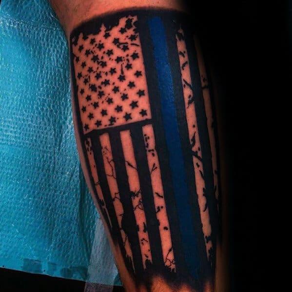 Thin Blue Line Flag Tattoo Sleeve