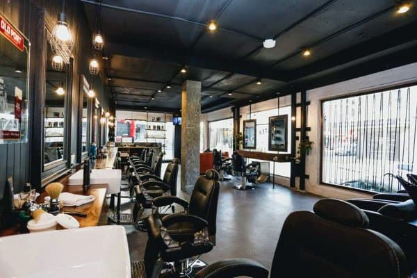 best living room wall colours accent chair for top 80 barber shop design ideas - manly interior decor