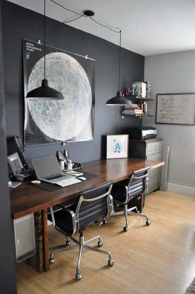 dark grey home office 75 Small Home Office Ideas For Men - Masculine Interior