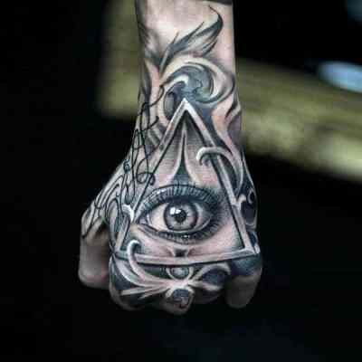 Bright Grey Eyes Illuminati Tattoo Male Hands