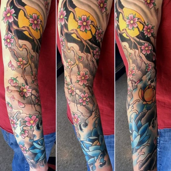 Cherry Blossom Tree With Sun Mens Sleeve Tattoo