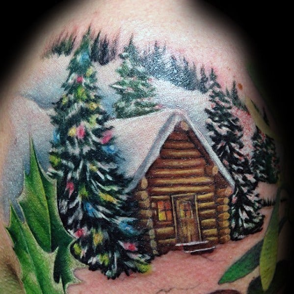 Christmas Tree Themed Tattoo Ideas For Men