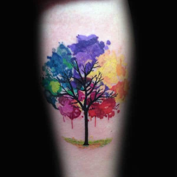 Color Blast Watercolor Tree Tattoo Male Forearms