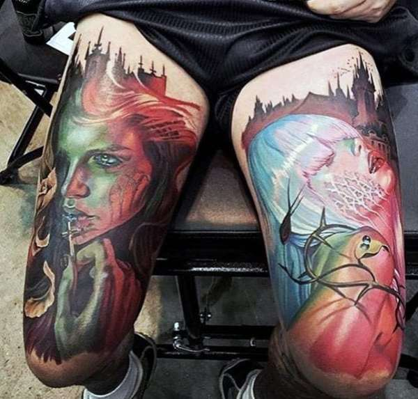 20 Colorful Thigh Tattoos For Men Ideas And Designs