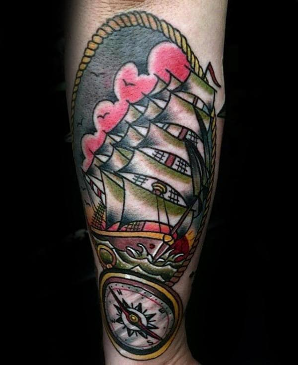 Traditional Ship Tattoos : traditional, tattoos, Traditional, Tattoo, Designs, Nautical, Ideas