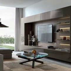 Contemporary Wall Decor For Living Room Home Design Ideas Small Top 70 Best Tv Television Designs Cool With Glossy Cabinet Doors And Shelves