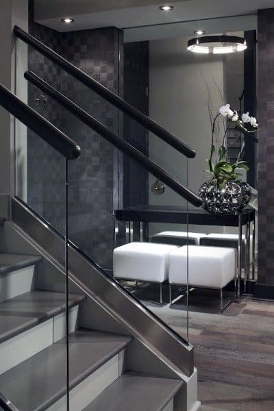 Top 70 Best Staircase Ideas Stairs Interior Designs   Black And White Stairs Design   Farmhouse   Photography   Concept   Disappearing   Grey Background
