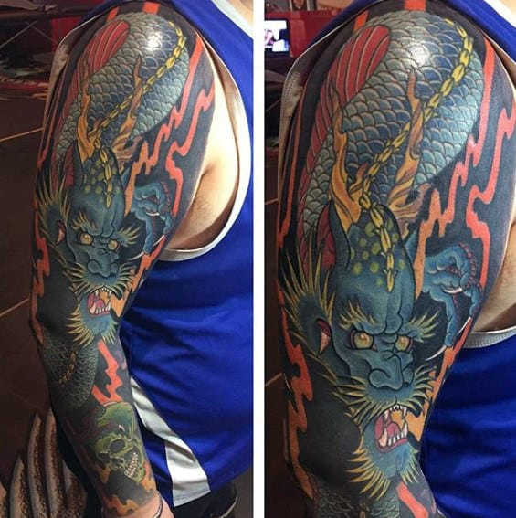70 Dragon Arm Tattoo Designs For Men - Fire Breathing Ink ...