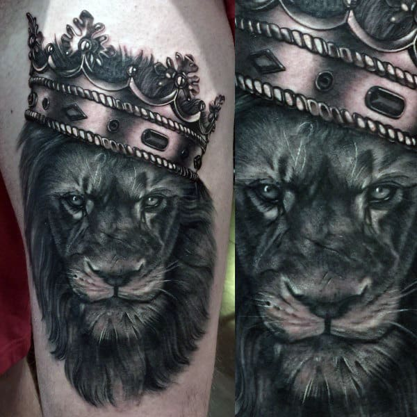 20 Lion Tattoos On Thigh For Men Ideas And Designs