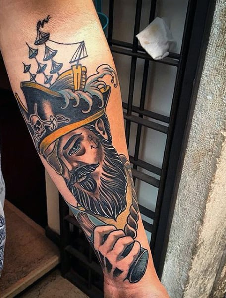 Old School Pirate Tattoos : school, pirate, tattoos, Pirate, Tattoo, Ideas, [2021, Inspiration, Guide]