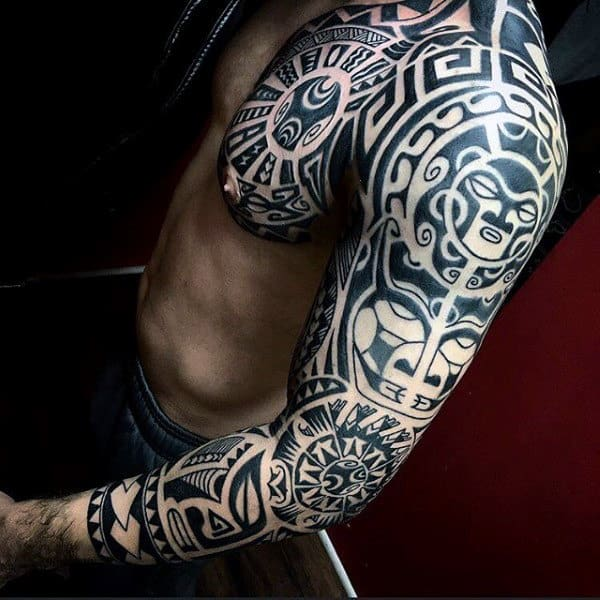 tribal sleeve tattoos men