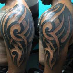 arm tattoos tribal tattoo negative space sleeve guys cool line mens shoulder chest nextluxury interwoven outsons blackwork epitome exquisite grasp