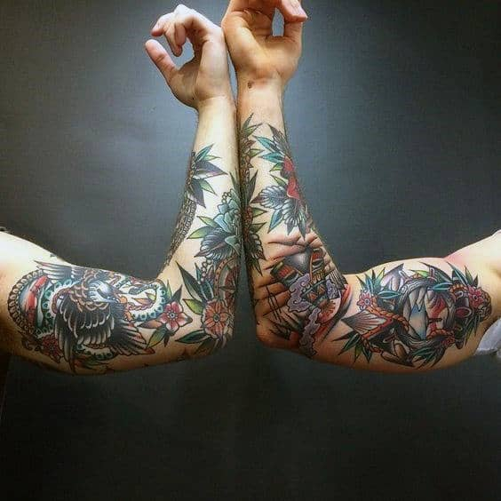 60 Traditional Tattoo Sleeve Designs For Men  Old School