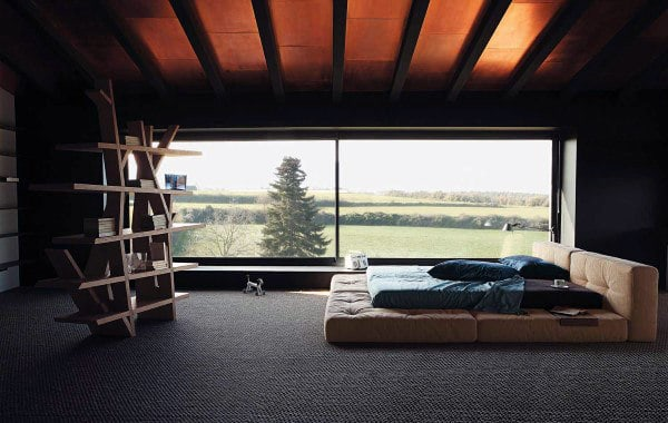Amazing gallery of interior design and decorating ideas of bed under window in bedrooms by elite interior designers. 60 Men's Bedroom Ideas - Masculine Interior Design Inspiration