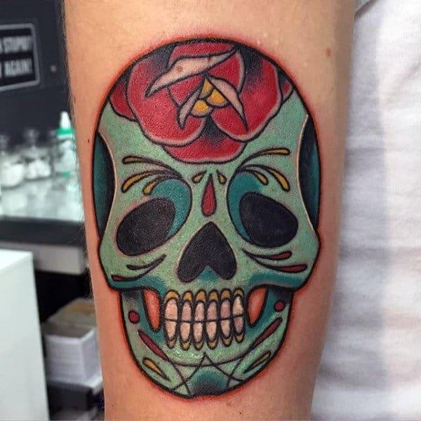 Day Of The Dead Sugar Skulls Tattoos On Man