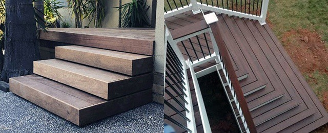 Top 50 Best Deck Steps Ideas Backyard Design Inspiration   Best Wood For Exterior Staircase   Stair Tread   Stair Landing   Stair Railing   Stain   Deck Stain