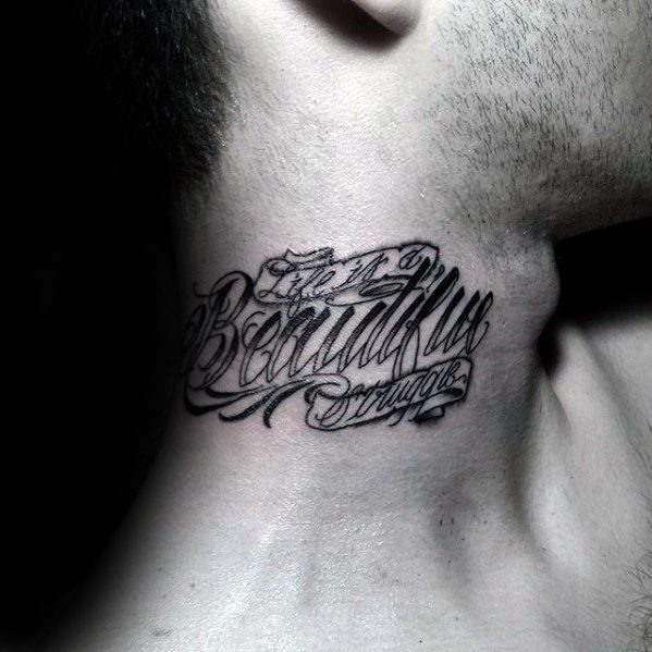 Small Neck Tattoo Lettering
