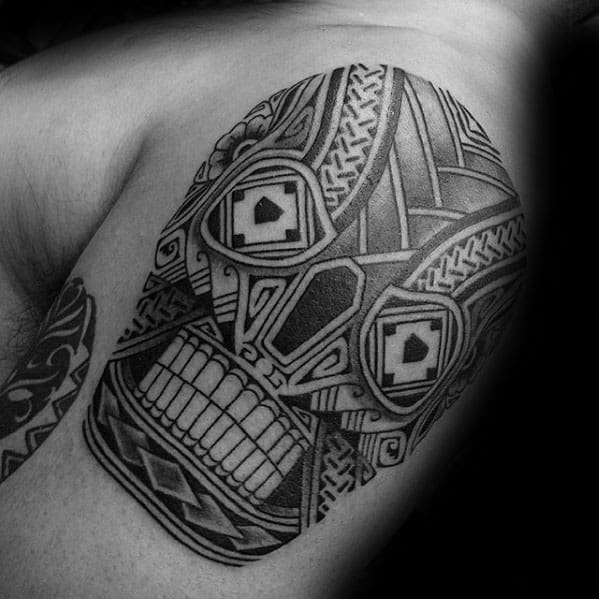 tribal skull tattoos men