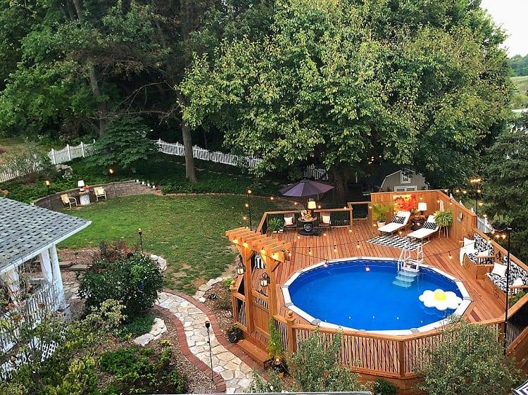 The Top 47 Best Above Ground Pool Deck Ideas Backyard Landscape Design Next Luxury