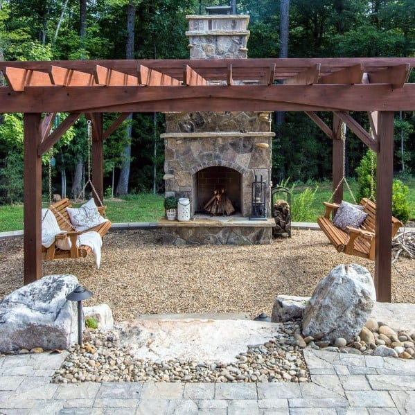 Exceptional Gravel Patio Ideas Wood Pergola With Fireplace