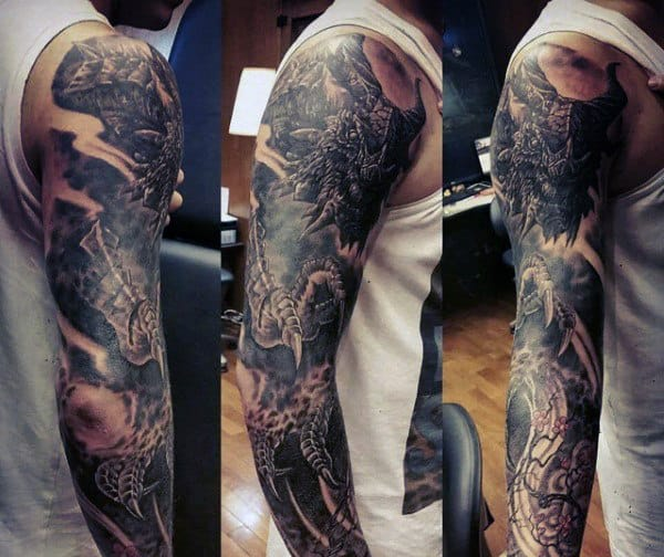 20 Fire Breathing Dragon Sleeve Tattoos Ideas And Designs
