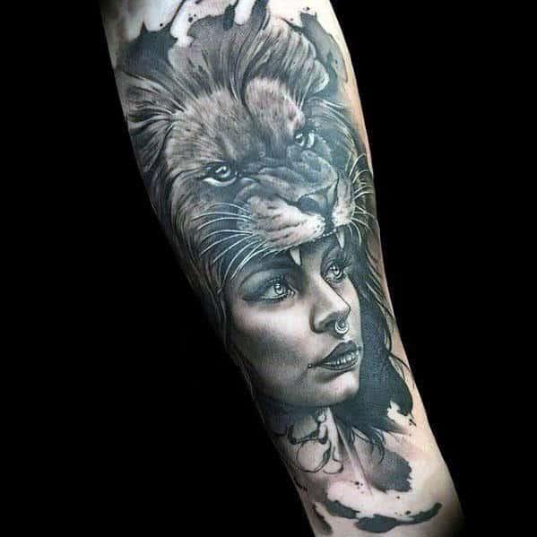 Female Lion Tattoo On Thigh
