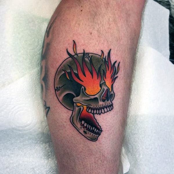 American Traditional Skull Tattoo Flash
