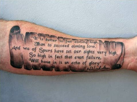forearm quote tattoos men