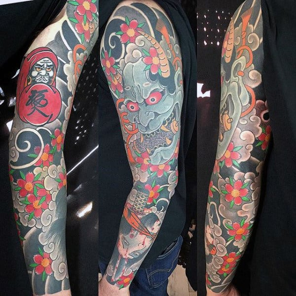 Japanese Oni Tattoo Sleeve