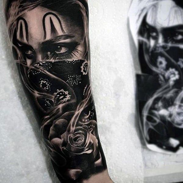 Gangster Script Forearm Tattoos For Men