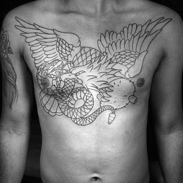 Mexican Eagle Chest Tattoo