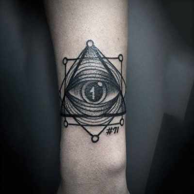 Geometric Lined Black Illuminati Tattoo Mens Forearms