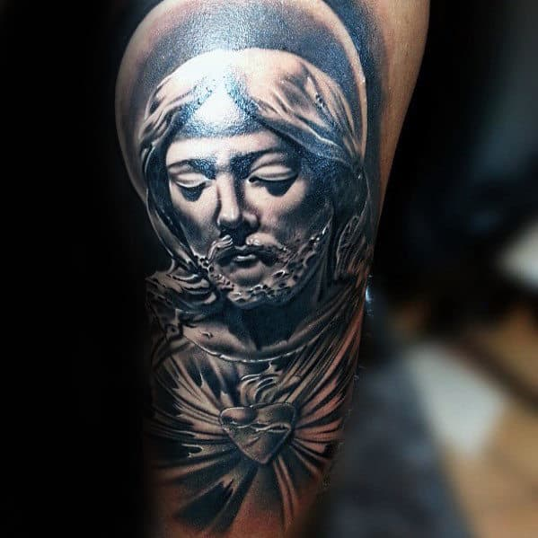 Jesus Face Tattoo On Forearm