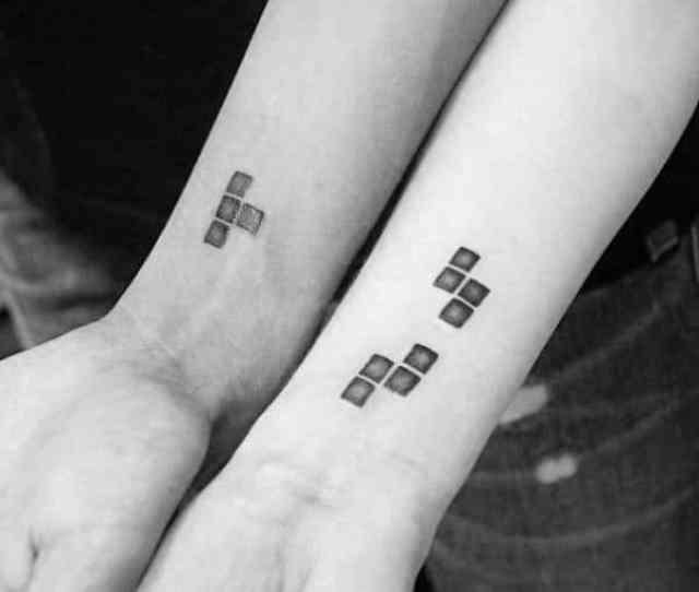 Good Couples Tattoos With Tetris Block Design