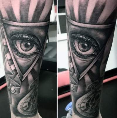 Grey Eye Illuminati Tattoo Male Forearms