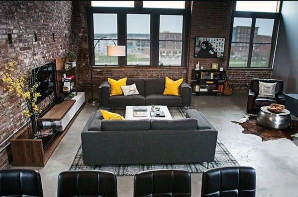 Living Ideas Room Grey Yellow