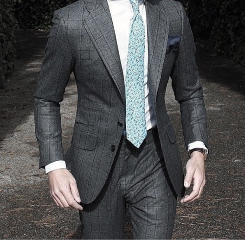 Grey Suit Male Style With Teal Color Tie