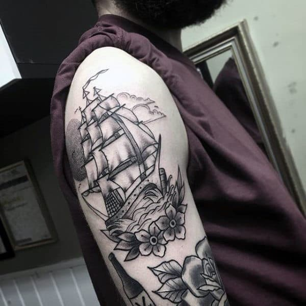 60 Traditional Ship Tattoo Designs For Men  Nautical Ink