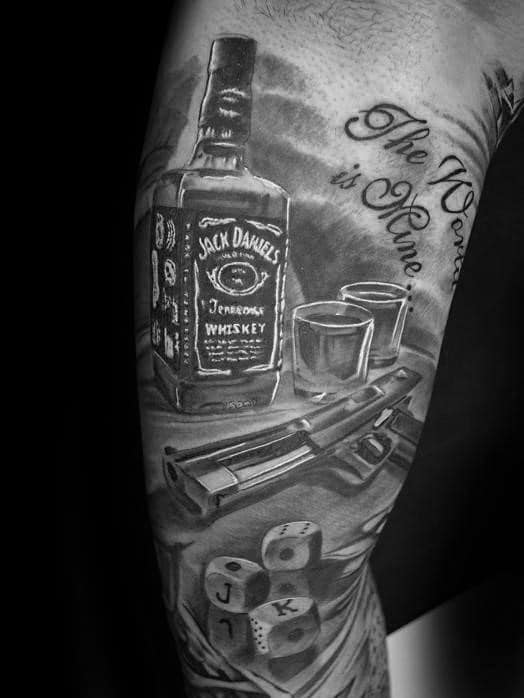 60 Jack Daniels Tattoo Designs For Men Whiskey Ink Ideas