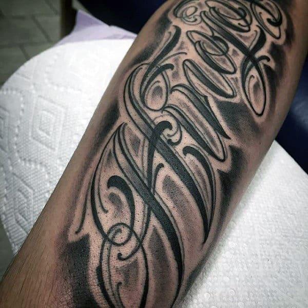 Letter Forearm Tattoo Designs For Men