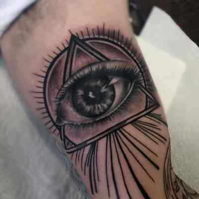 Guys Forearms Realistic Illuminati Tattoo