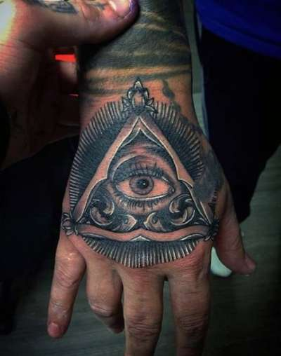 Guys Hands Illuminati Tattoo