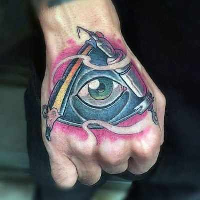 Guys Hands Unique Illuminati Tattoo
