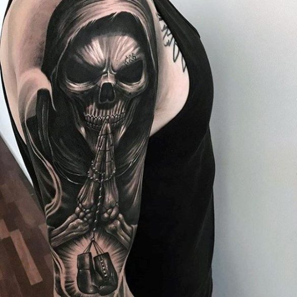 Guys Incredible 3d Praying Skeleton With Boxing Gloves Sleeve Tattoo