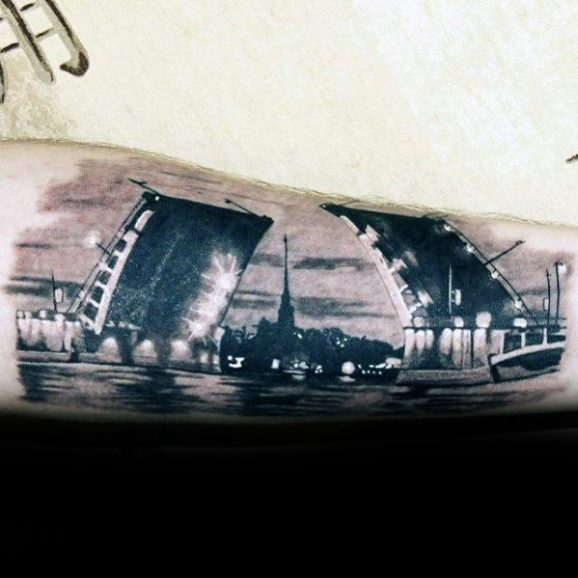 Guys Incredible Tattoo Bridge Forearm Deisgns