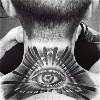 Guys Neck Grey Illuminati Tattoo