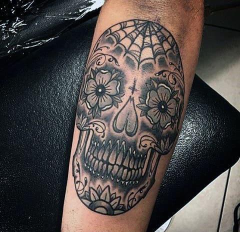 Guys Sugar Skull Tattoo Black And White
