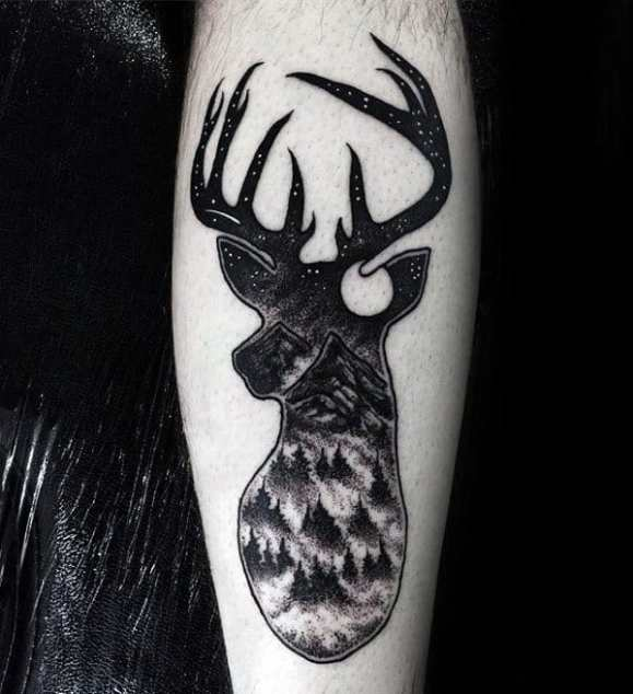 Guys Tattoo Ideas Incredible Deer Head With Mountains And Forest Designs On Leg