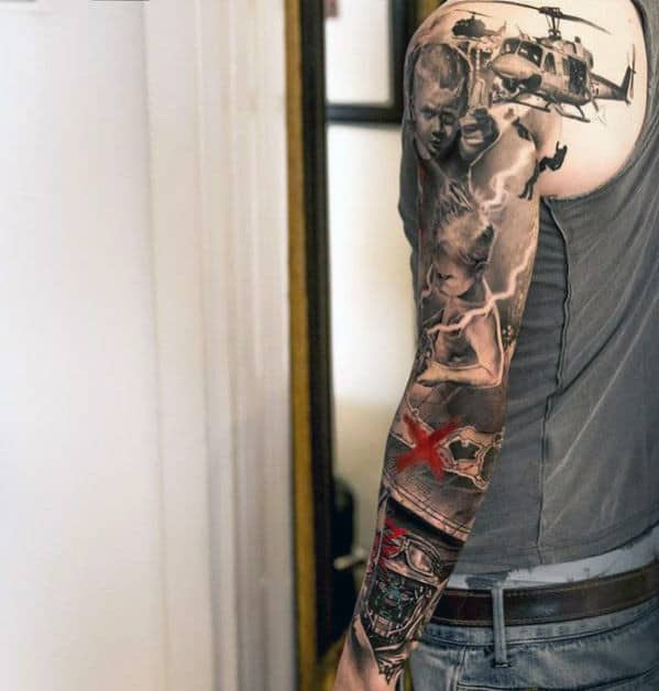 Military Half Sleeve Tattoos For Black Men