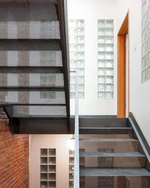 Top 50 Best Glass Block Ideas Obscured Light Designs | Staircase Side Window Designs | Window Furniture | Two Story | Angled Staircase | Bedroom | Corner